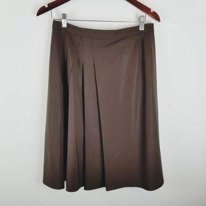 Talbots brown pleaded wool career work skirt 6